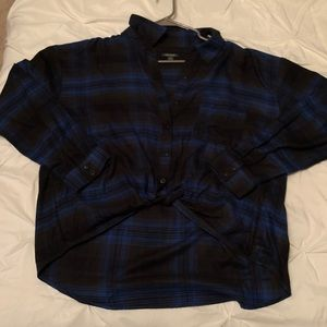Navy blue and black Long sleeve flannel crop top